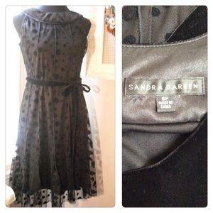 Chiffon Sheer Velvet Polka Dot Dress Black 6 P